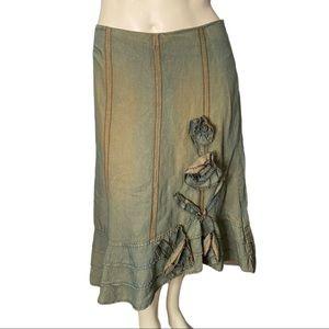 Sandwich Linen/ Cotton Midi Skirt with Flowers 40